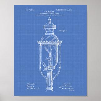 Pôster Modelo da arte da patente da luz de rua 1904