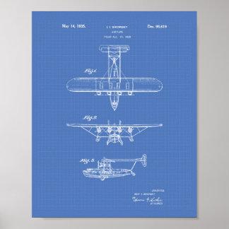Poster Modelo da arte da patente do avião 1935