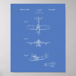 Pôster Modelo da arte da patente do avião 1935