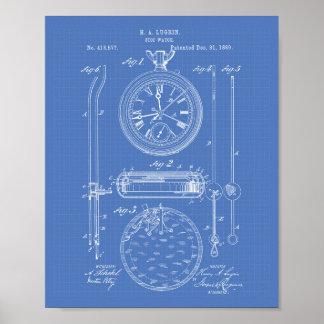 Pôster Modelo da arte da patente do cronômetro 1889