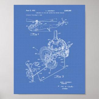 Pôster Modelo da arte da patente do motor de aviões 1953
