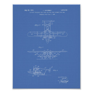 Poster Modelo da arte da patente dos aviões 1931