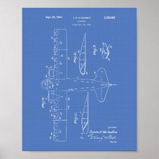 Poster Modelo da arte da patente dos aviões 1944