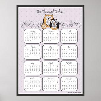 Poster moderno do calendário das corujas 2012 pôster