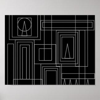Poster monocromático do impressão do art deco
