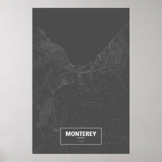 Pôster Monterey, Califórnia (branca no preto)