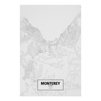 Poster Monterey, Califórnia (preto no branco)