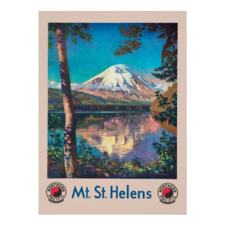 Poster Mt. St Helens, para o vintage pacífico do norte