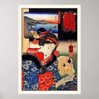 Poster: Mulher com gato - arte japonesa - Kuniyosh Poster