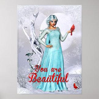 Pôster Mulher do inverno da fantasia você é arte bonita