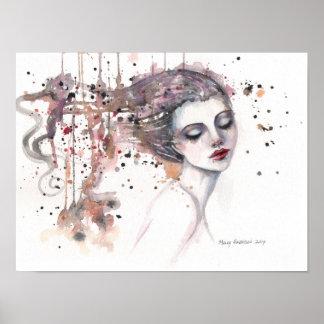 Poster Mulher satisfeita da arte da aguarela da fantasia