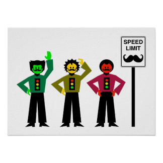 Poster Mustachio temperamental do limite de velocidade do