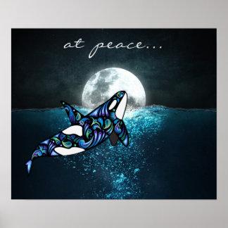 Pôster na baleia Trippy psicadélico da orca da Lua cheia