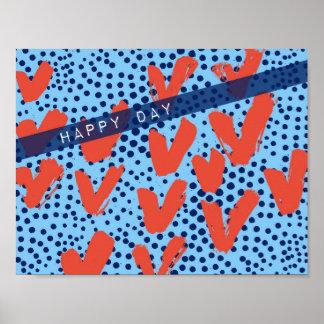 Pôster Namorados modernos azuis e vermelhos das bolinhas