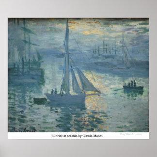 Poster Nascer do sol no beira-mar por Claude Monet