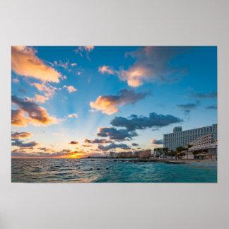 Poster - nascer do sol sobre Punta Cancun, México