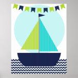 Poster náutico do berçário do veleiro