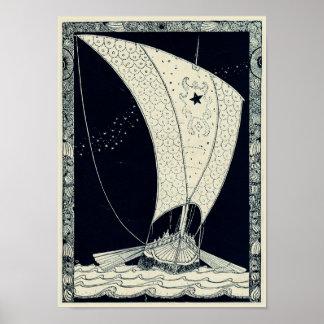 Pôster Navigação de Viking Longship na noite