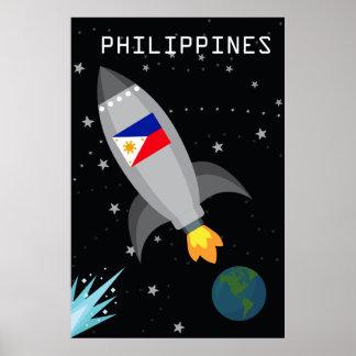 Pôster Navio de Rocket da bandeira de Filipinas