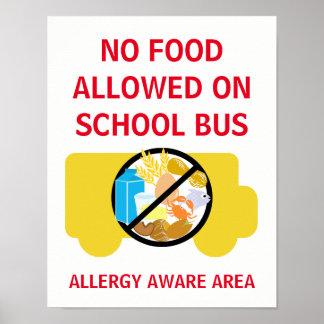 Pôster Nenhuma comida permitida na alergia do auto