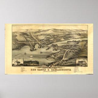 Poster Newcastle & Damariscotta Maine 1878 mapas