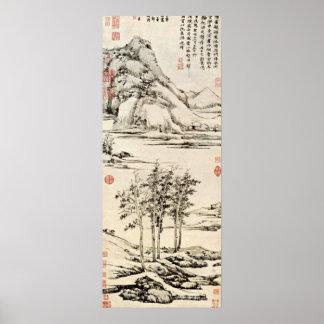 Pôster Ni Zan - árvores em um River Valley em Yu-Shan