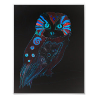 Poster Night Owl Colorful Watercolor Painting