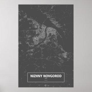 Poster Nizhny Novgorod, Rússia (branca no preto)