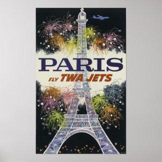 Pôster Noite colorida de Eiffel da excursão de Paris dos