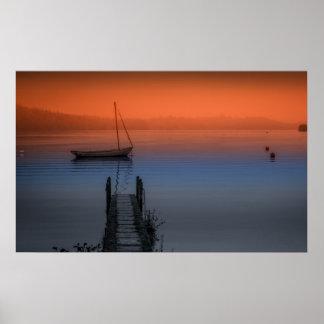 Pôster Noite enevoada no lago Windermere