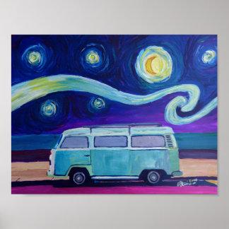 Poster Noite estrelado Surfbus na praia