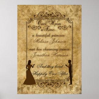 Poster Noivo da noiva do casamento vintage uma vez