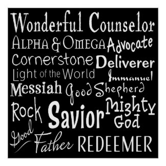 Poster Nomes do deus da bíblia em preto e branco