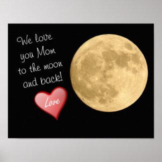 Poster Nós amamo-lo lua da mamã e parte traseira -