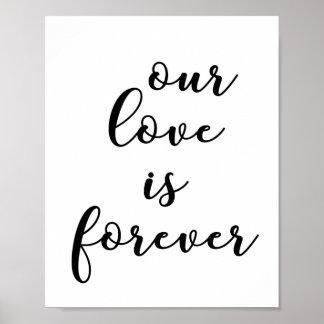 Pôster Nosso amor wedding para sempre citações