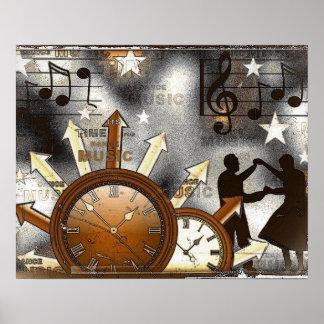 Poster nostálgico da dança do estilo antigo pôster