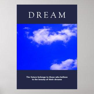 Pôster Nuvens inspiradores ideais, atitude do céu azul