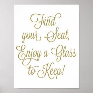 Pôster O achado do ouro seu Seat aprecia um vidro para
