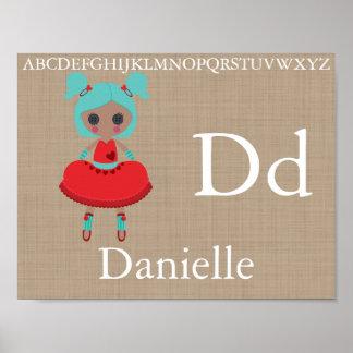 Poster O alfabeto bonito da boneca de pano rotula a