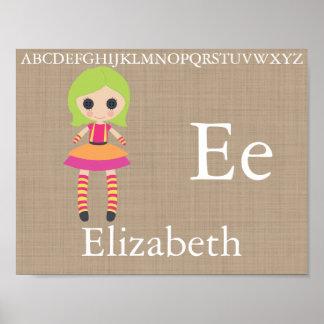 Pôster O alfabeto bonito da boneca de pano rotula a