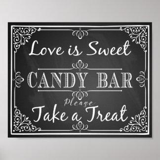 Pôster O amor da barra de chocolate do sinal do casamento