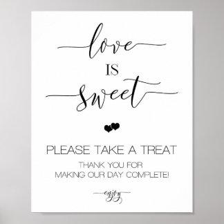 Pôster O amor do casamento da caligrafia é sinal doce