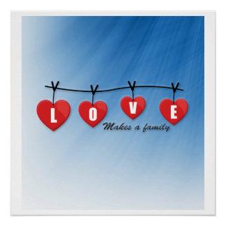 Pôster O amor faz uma família - corações