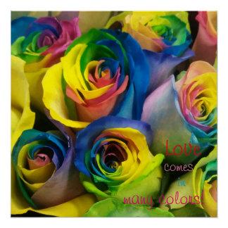 Pôster O amor vem no poster de muitos rosas do arco-íris