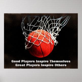 Pôster O basquetebol inspirado das citações inspira a