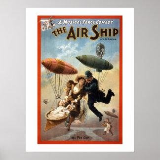 Pôster O cartaz do teatro do vintage do dirigível