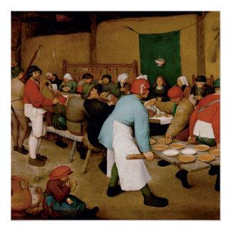 Pôster O casamento do camponês por Pieter Bruegel a