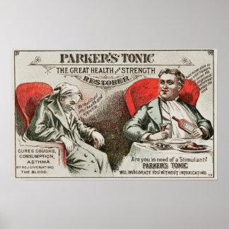 Poster O charlatanismo da medicina do tónico de Parker do
