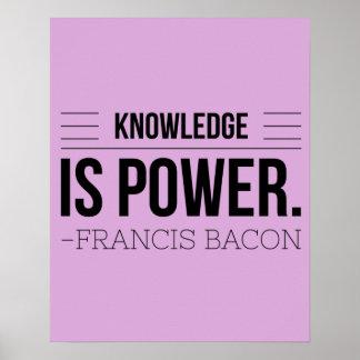 Poster O conhecimento é citações da motivação de Francis