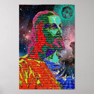 Poster O cosmos da galáxia do espaço do Jesus Cristo